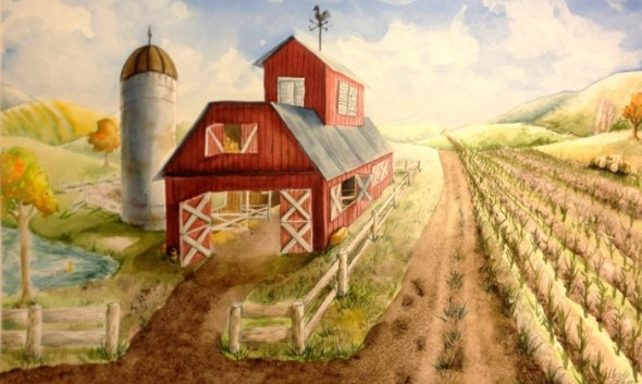 Barn one 1 point perspective art lesson