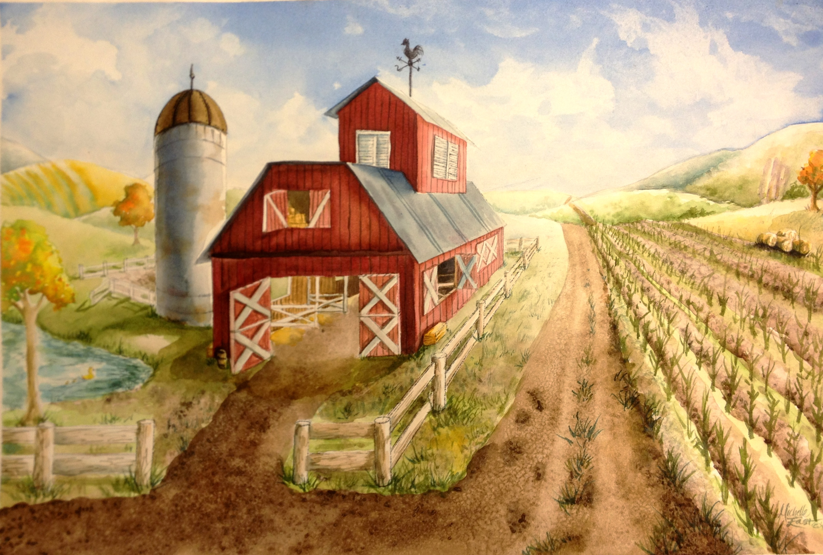 One point perspective barn watercolor painting lesson for Watercolor barn paintings