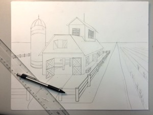 1 Point Perspective Barn Drawing