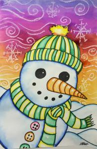 Snowman Painting with Markers