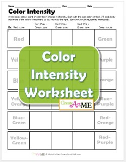Color Intensity Worksheet for kids