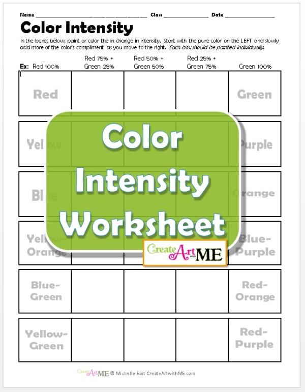 Color Intensity Worksheet for kids