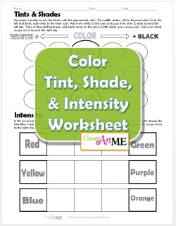 Color Tint Shade Intensity Worksheet 2015