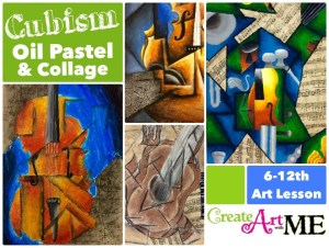 Cubism Instrument Oil Pastel and Collage Lesson