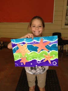 Star Fish Art Erupting Paint Collage