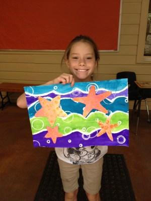 Star Fish Art Erupting Paint Collage