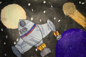 Space Shuttle Oil Pastel & India Ink Collage