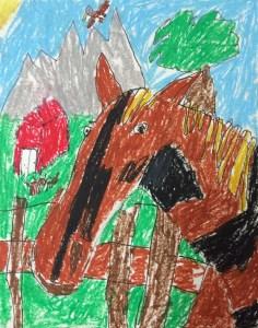 Horse Portrait Oil Pastel Art Lesson