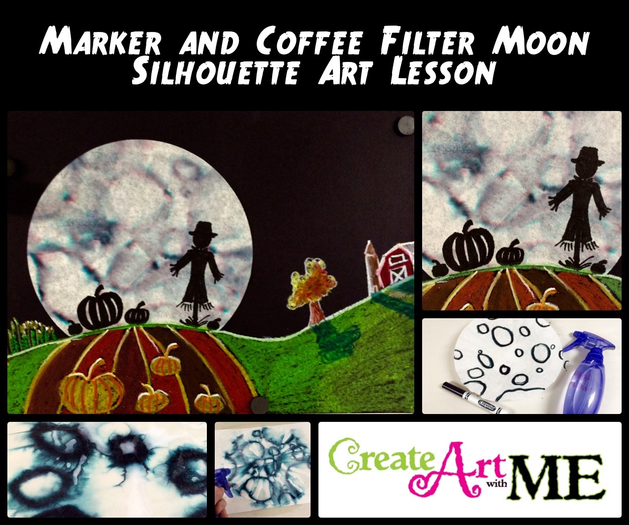 Marker And Coffee Filter Moon Silhouette Art Lesson