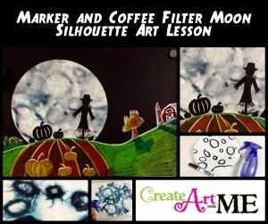marker and coffee filter art lesson