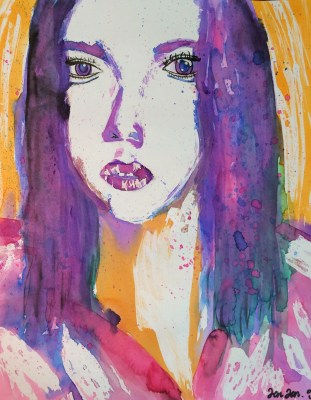 Watercolor Pouring and Masking Portrait Art Lesson