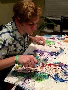 Watercolor pouring portrait