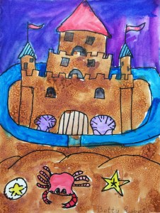 Sand Castle Salt Watercolor Painting