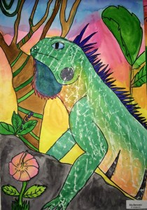 Iguana Watercolor Texture Rubbing Painting