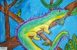 Iguana Watercolor Texture Rubbing PaintingIguana Watercolor Texture Rubbing Painting