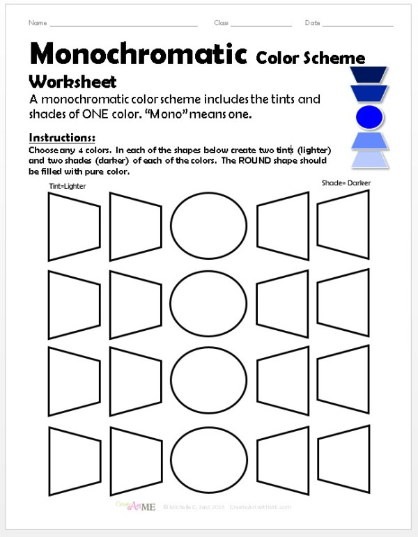 Monochromatic Color Scheme Worksheet