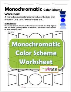 Monochromatic Color Scheme Worksheet