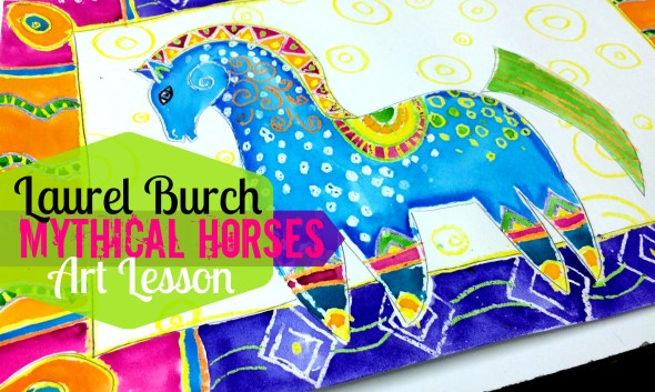 Laurel burch mythical horses Watercolor Resist Painting Lesson