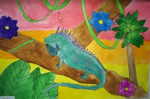 Color contrast texture rubbings iguana watercolor painting