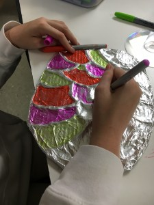 Color Scheme Foil Cardboard Relief Sculpture