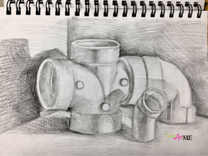PVC pipe sketchbook drawing
