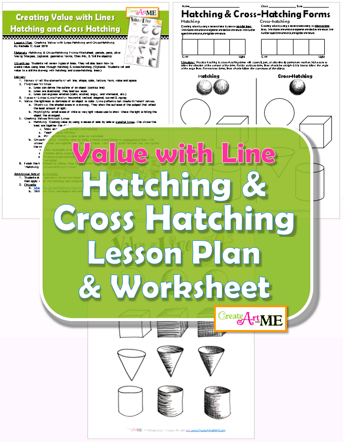 Line Design Art Lesson Plan : Value with line hatching and cross lesson plan