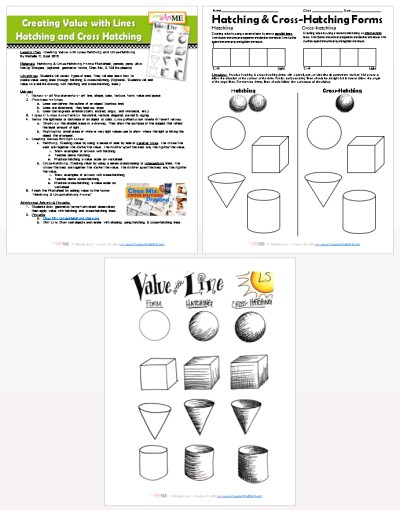 Creating Value with Lines Hatching and Cross Hatching Lesson plan worksheet