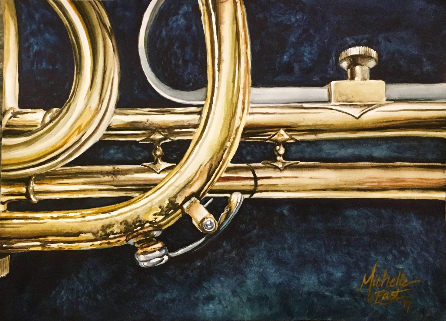 Music Instruments And Composition Watercolor Painting