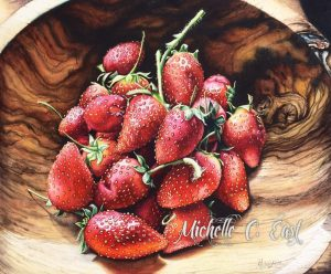 Swaziland Strawberries Watercolor by Michelle C. East