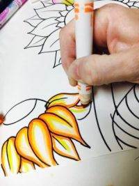 Van Gogh Marker Bleeding Sunflower art lesson