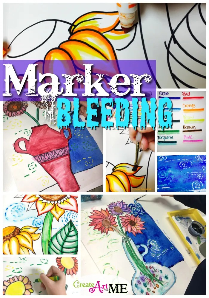 Marker Bleeding Van Gogh Sunflowers Art Lesson