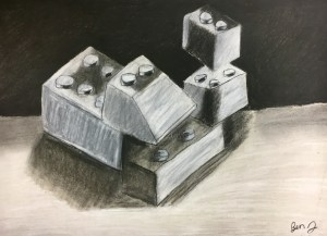 Lego Charcoal Drawing