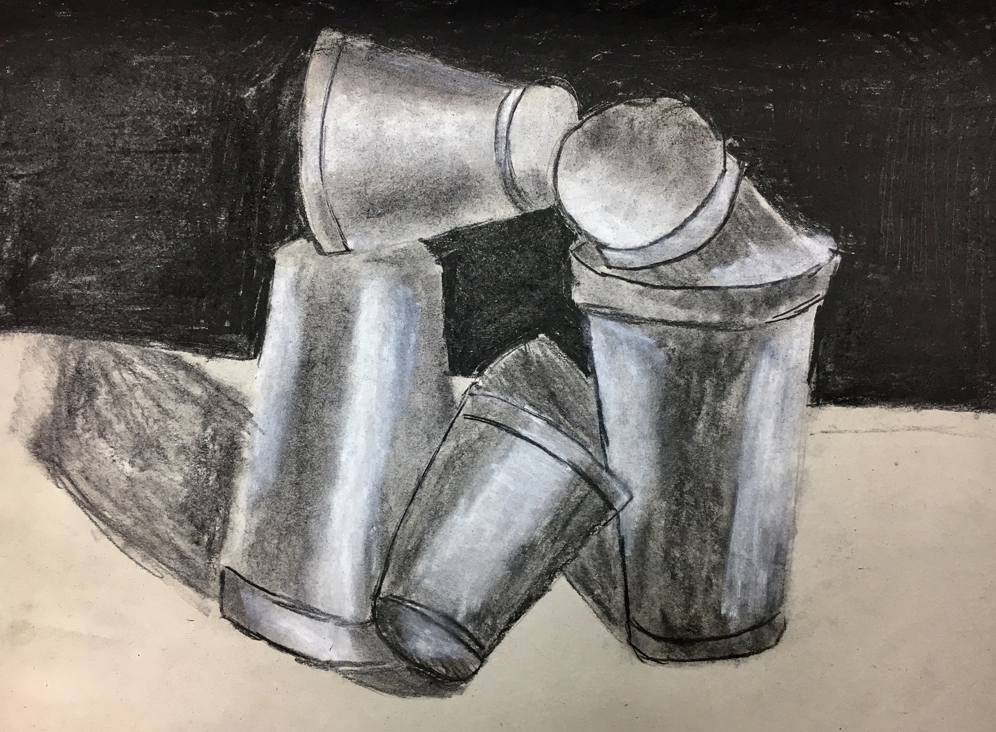 Styrofoam Cups Charcoal Drawing 3