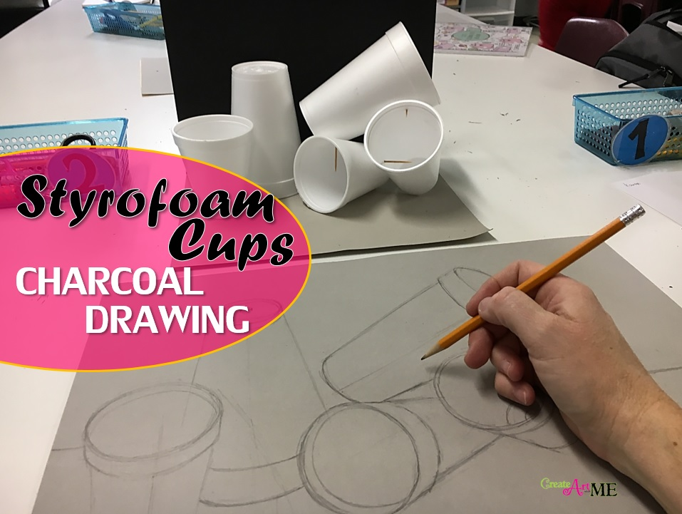 Styrofoam Cup Charcoal Drawing Still Life