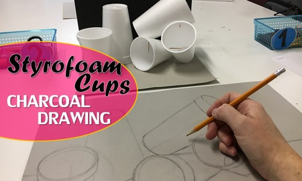 Styrofoam Cups Charcoal Drawing