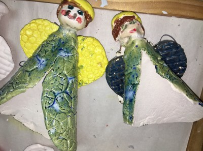 Clay slab angel ornament