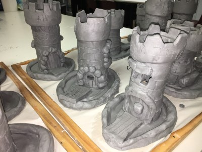 Clay Slab Castle with Moat and Glass Beads