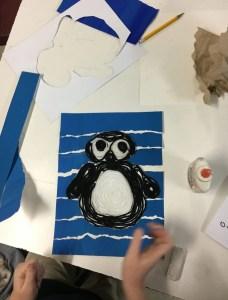 Huichol Penguin Yarn Painting