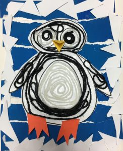 Huichol Penguin Yarn Painting
