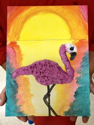 Flamingo clay with acrylic painting