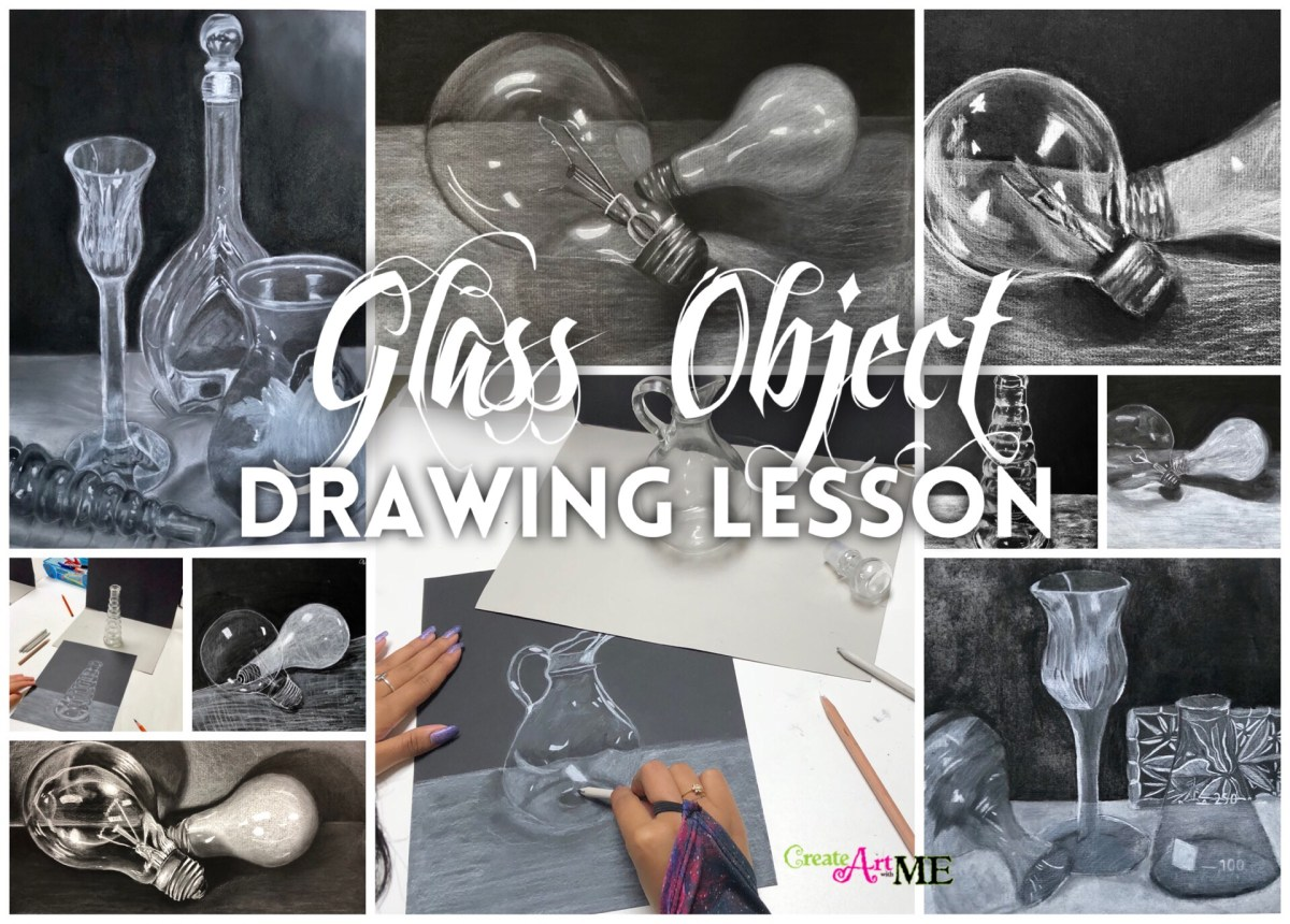 Glass Objects and Light Bulb White Charcoal Drawing Lesson