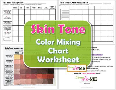 Skin Tone Color Mixing Chart Worksheets