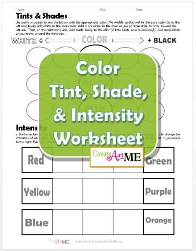Color Tint Shade Intensity Worksheet