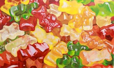 "SOLD ""Gummy Bears"" - original painting, acrylic on canvas 150x100 cm"