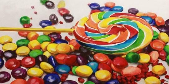 """Sugar"" - original painting, acrylic on canvas, 150x70 cm"