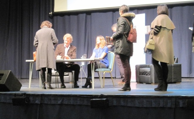 Sebastian Faulks signing books at the Bath Literature Festival