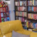 Comfy seating and children's books