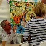 Griff Rhys Jones signing books at Llangwm Literary Festival 2016