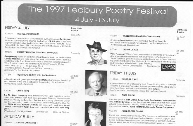 Original Ledbury Poetry Festival programme from 1997