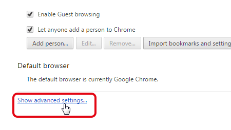 Access to Google Chrome advanced settings